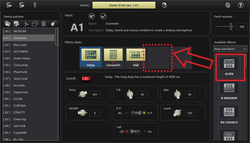ToneLib: Drag and drop the effect that you want from the 'Available effects' panel to the